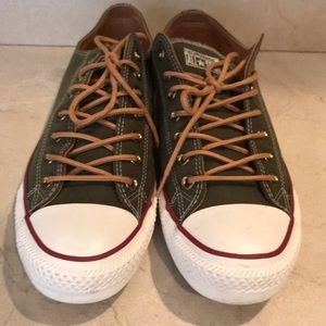 Men's size 11.5 army green converse with tan laces